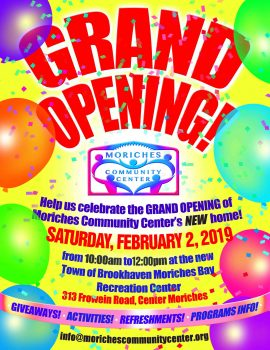 Grand Opening of the New Moriches Bay Recreation Center @ Moriches Bay Recreation Center | Center Moriches | New York | United States