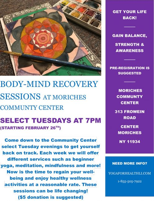 Body & Mind Recovery @ Moriches Bay Recreation Center | Center Moriches | New York | United States