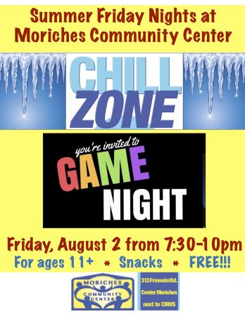 "Game night at MCC ""Chill Zone!"" @ Moriches Community Center 