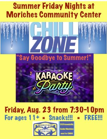 """Say goodbye to summer"" Karaoke night at MCC ""Chill Zone!"" @ Moriches Community Center 