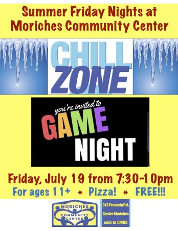 "Games Night at MCC ""Chill Zone"" @ Moriches Community Center 