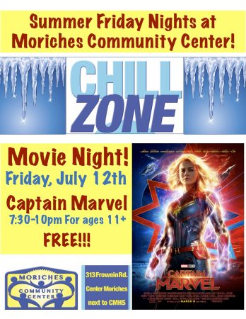 "Movie Night ""Captain Marvel"" at MCC Chill Zone @ Moriches Community Center 