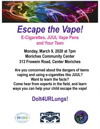 Escape the Vape! E-cigarettes, JUUL vape pens, and your Teen @ Moriches Community Center | Center Moriches | New York | United States